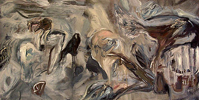 "gray beach 2007, 15""x 30"" inches, oil on canvas"