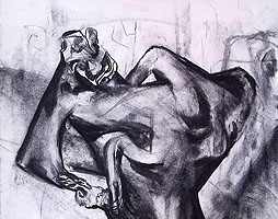 fightself 2014, charcoal on paper